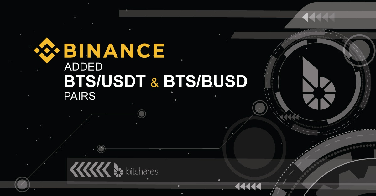BINANCE adds BTS/Stablecoin pairs