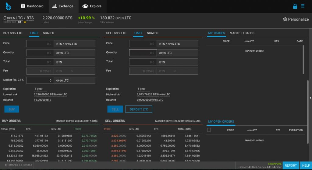 BitShares UI main trading view