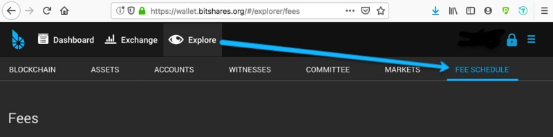 View BitShares blockchain fees in the reference UI