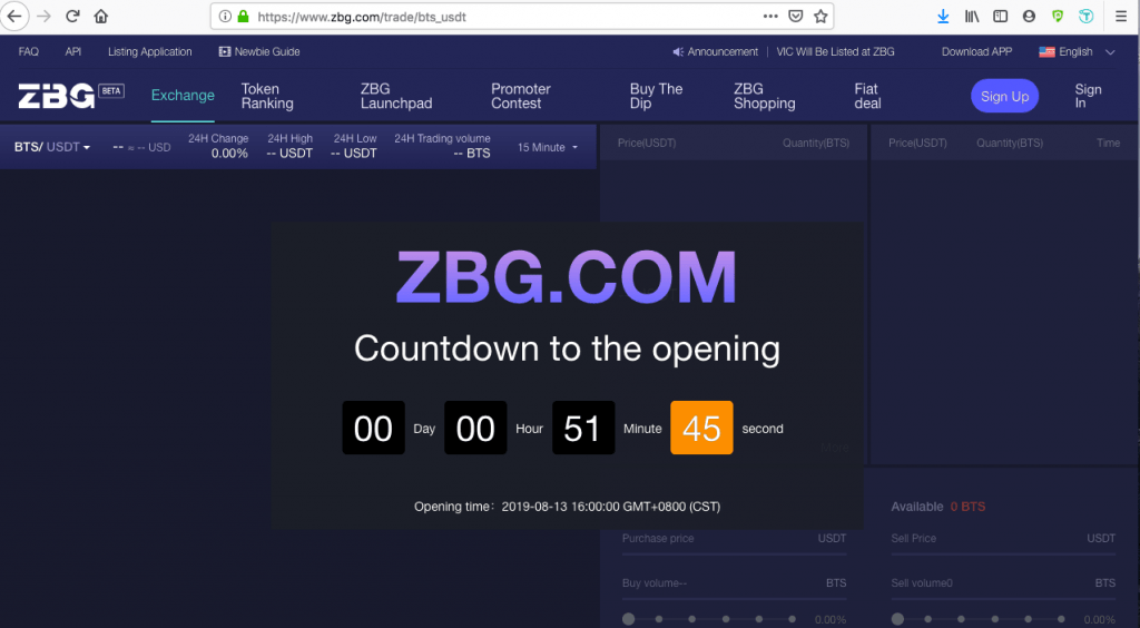 ZBG.com countdown to opening