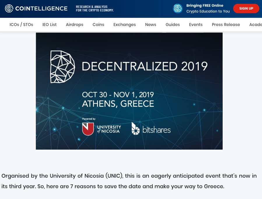 Article on cointelligence.com about the Decentralized 2019 event