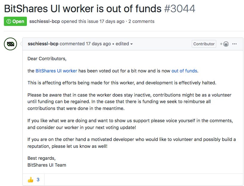 GitHub pinned issue from BitShares UI team