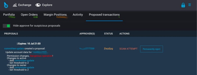 Proposed transaction on BitShares UI